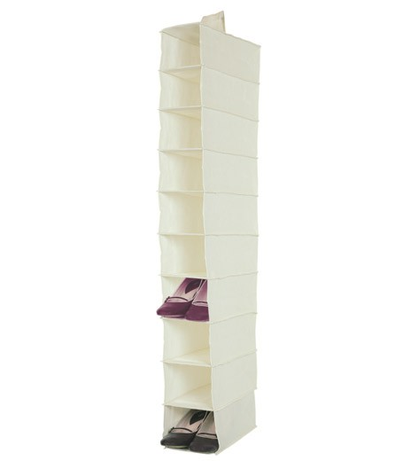 10 SHELVES CANVAS WHITE SHOE STORAGE