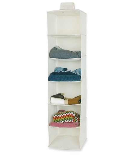 6 SHELVES CANVAS WHITE ORGANIZER