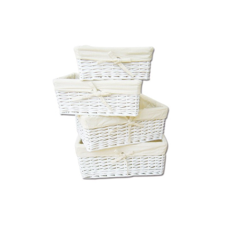 SET OF 4 STACKABLE WICKER BASKETS