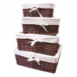 4 STACKABLE WICKER BASKETS