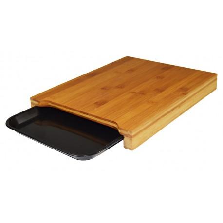 tabla de cortar con bandeja negra