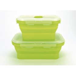 RECIPIENTE DE SILICONA PLEGABLE 350ML VERDE