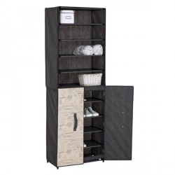 CLOTHING CABINET WITH SHOE ORGANIZER AND RIGID DOOR