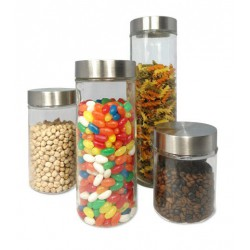 SET OF 4 STORAGE GLASS JARS