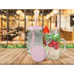 MASON JAR MUG WITH STRAW