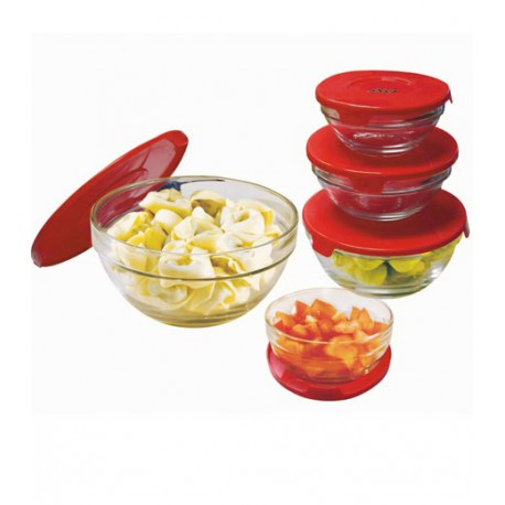 GLASS BOWL SET WITH LIDS