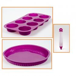 Set de moldes y decoración de silicona rosa